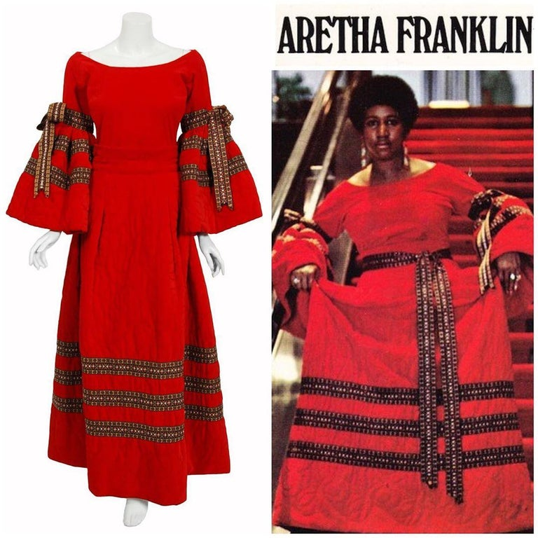A gorgeous and well-documented red velvet Adolfo designer ensemble from his Fall Winter 1969-1970 collection. Perfect for Valentine's Day! Aretha Franklin even wore the same outfit for her Spanish Harlem cover art. Adolfo began his career as a