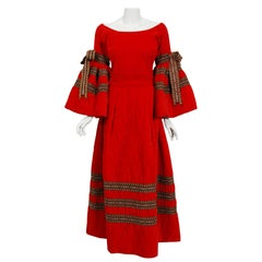 Vintage 1969 Adolfo Couture Red Embroidered Velvet Bell-Sleeve Top & Maxi Skirt