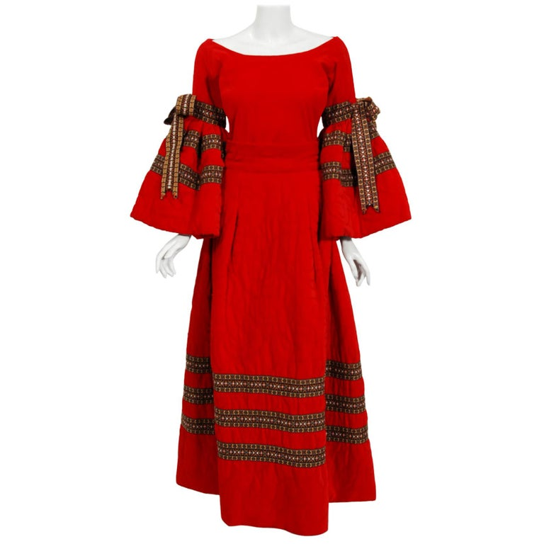 Vintage 1969 Adolfo Couture Red Embroidered Velvet Bell-Sleeve Top & Maxi Skirt For Sale