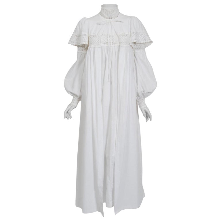 Vintage 1969 Biba Documented White Cotton Lace Billow-Sleeve Maxi Dress & Jacket For Sale