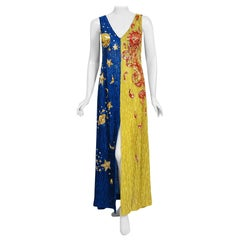 Vintage 1969 Boyd Clopton Couture Celestial Sun & Moon Beaded High-Slit Gown