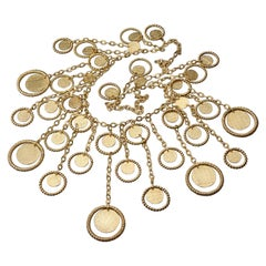 Vintage 1969 CHRISTIAN DIOR Cascading Discs and Hoops Necklace