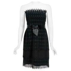 Vintage 1969 Christian Dior For Saks Black Lace & Silk Strapless Bow Mini Dress