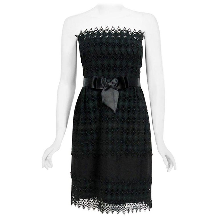 Vintage 1969 Christian Dior For Saks Black Lace & Silk Strapless Bow Mini Dress  For Sale