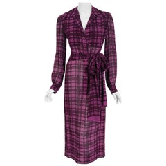 Vintage 1969 Christian Dior Haute Couture Purple Houndstooth Silk Belted Dress