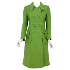 Vintage 1969 Courreges Couture Green Wool Double-Breasted Mod Belted Coat