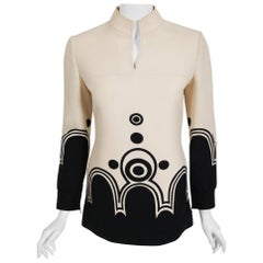Vintage 1969 Louis Feraud Couture Documented Black Ivory Op-Art Wool Crepe Tunic