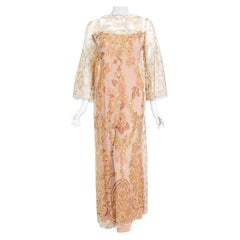 Vintage 1969 Molyneux Haute Couture Metallic Lace and Crepe Bell-Sleeve Jumpsuit