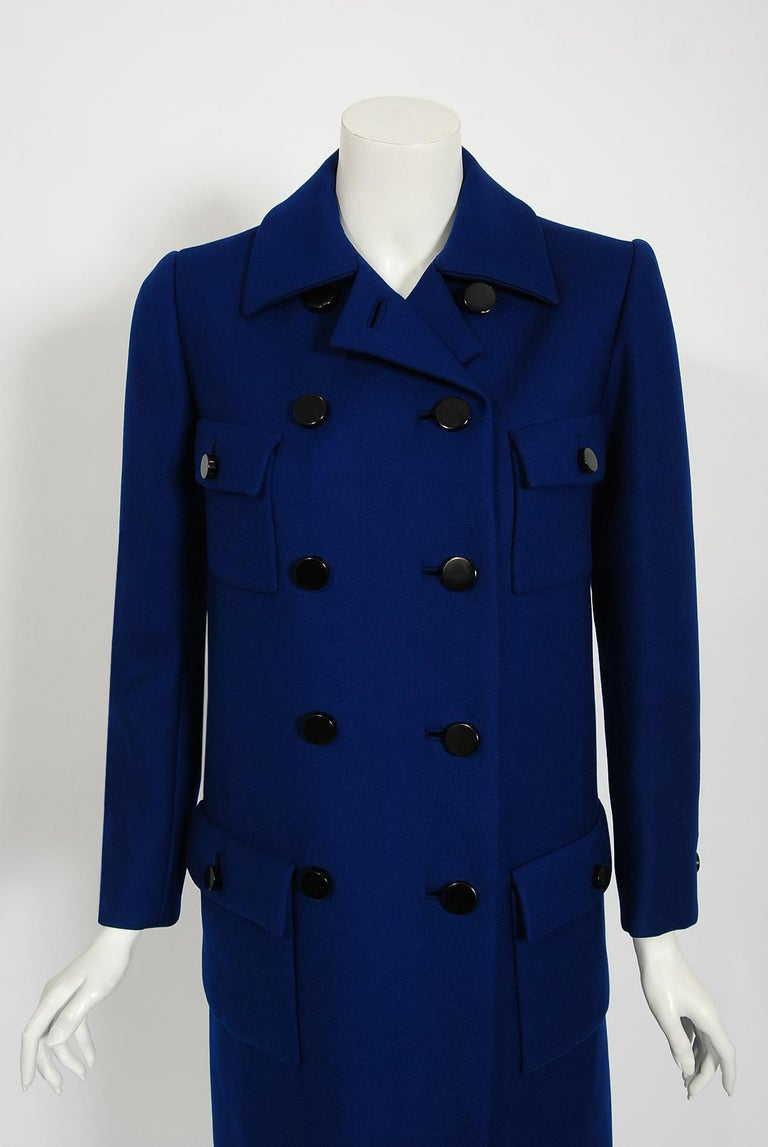 Black Vintage 1969 Norman Norell Royal Blue Wool Double-Breasted Mod Military Coat For Sale
