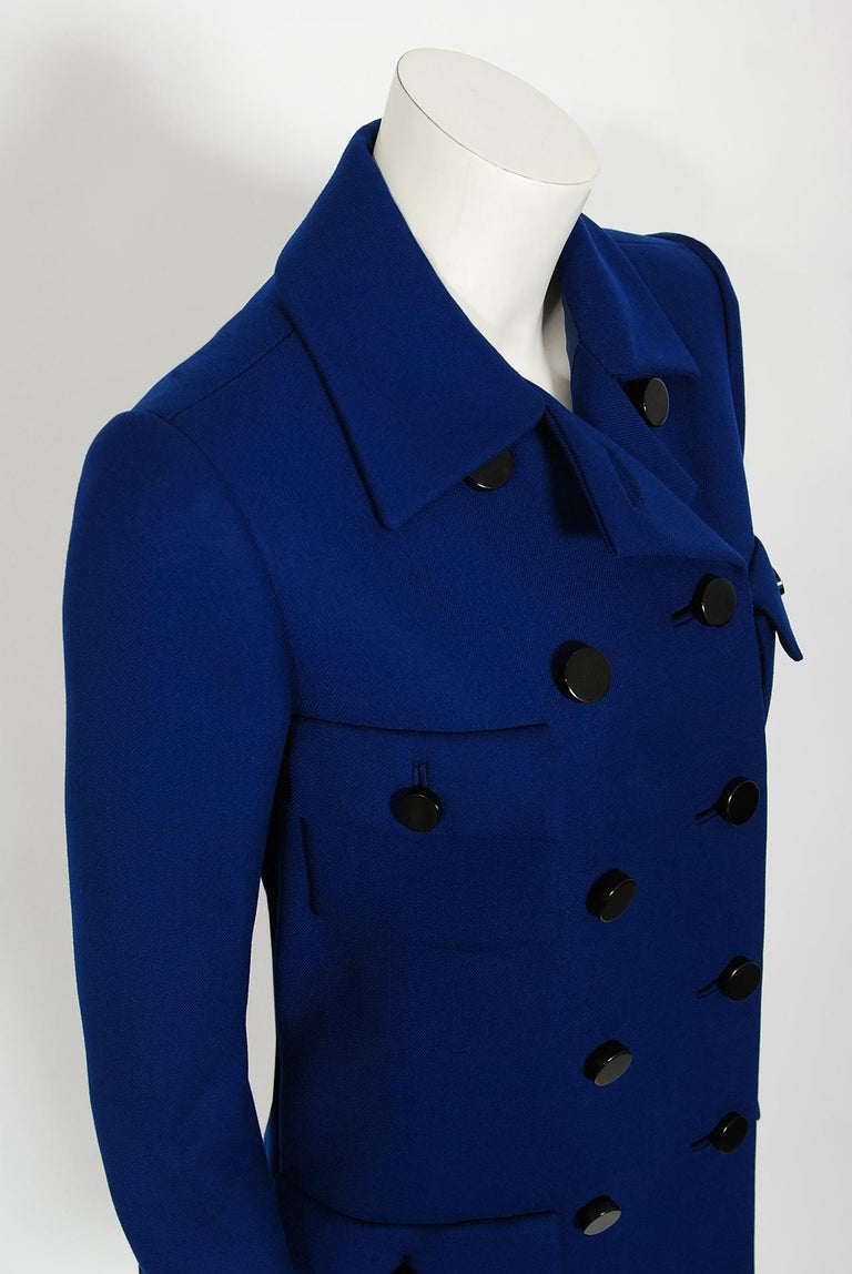 Women's Vintage 1969 Norman Norell Royal Blue Wool Double-Breasted Mod Military Coat For Sale