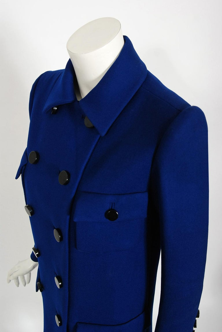 Vintage 1969 Norman Norell Royal Blue Wool Double-Breasted Mod Military Coat For Sale 1