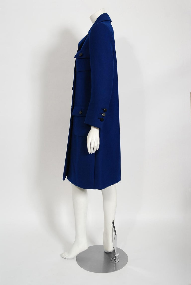 Vintage 1969 Norman Norell Royal Blue Wool Double-Breasted Mod Military Coat For Sale 2