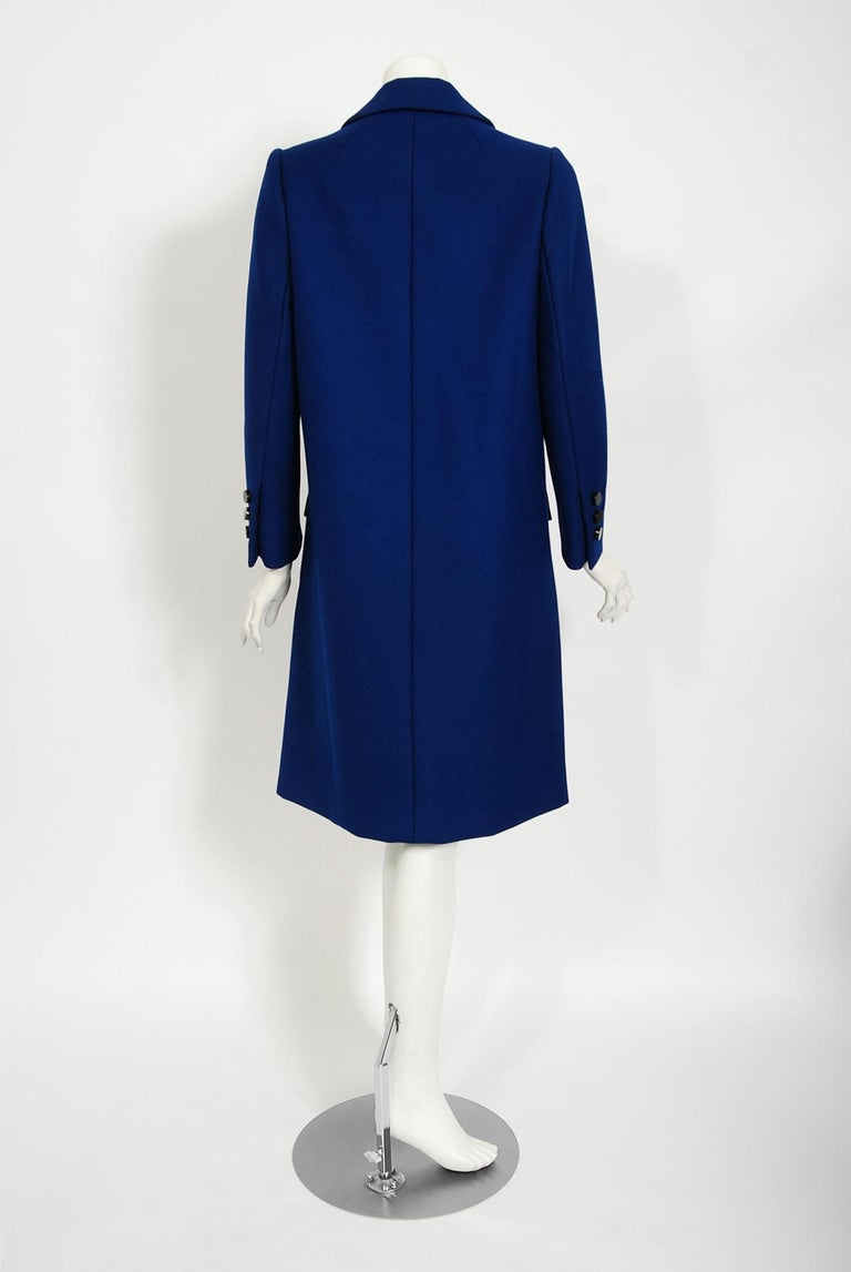 Vintage 1969 Norman Norell Royal Blue Wool Double-Breasted Mod Military Coat For Sale 4