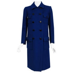 Vintage 1969 Norman Norell Royal Blue Wool Double-Breasted Mod Military Coat