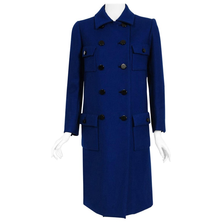 Vintage 1969 Norman Norell Royal Blue Wool Double-Breasted Mod Military Coat For Sale