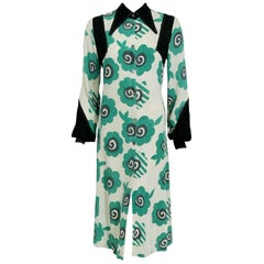 Vintage 1969 Ossie Clark Couture Candy Flower Print Crepe Billow-Sleeve Dress