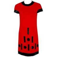 Vintage 1969 Pierre Cardin Documented Red Wool & Black Vinyl Space-Age Mod Dress