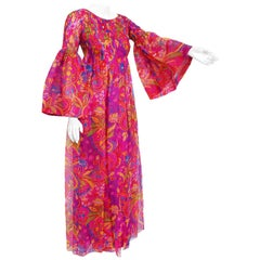 Vintage 1969 Pierre Cardin Pink Psychedelic Print Organza Bell-Sleeve Maxi Dress