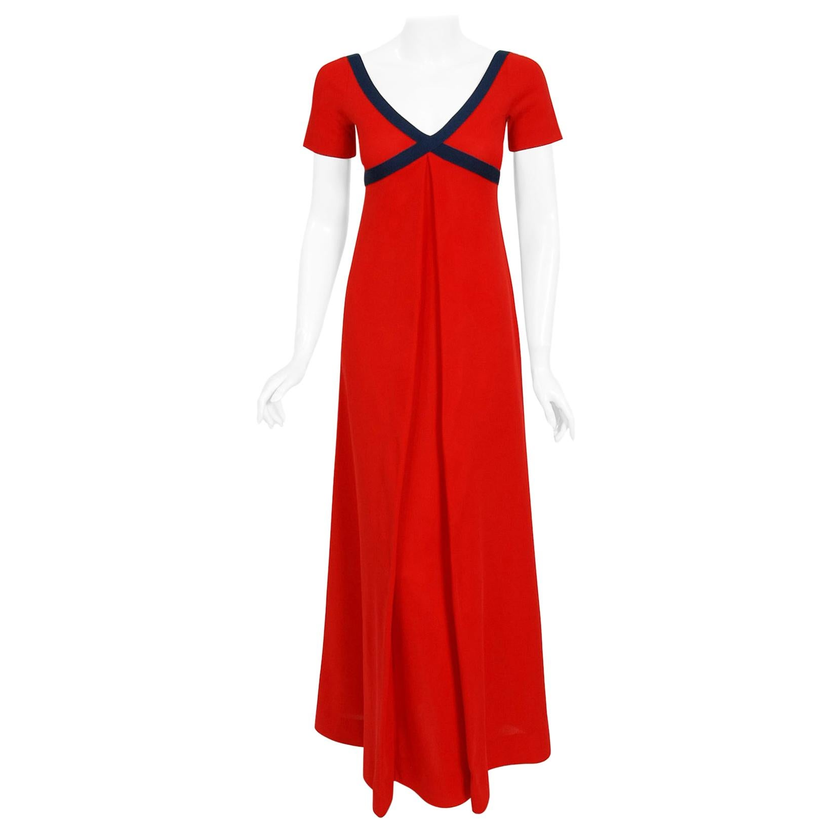 Vintage 1969 Rudi Gernreich Cross Your Heart Empire Red and Navy Knit Maxi Dress
