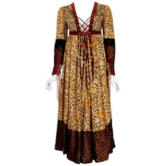 Vintage 1970 Bill Gibb Bohemian Floral Silk and Suede Fringe Lace-Up Gypsy Dress