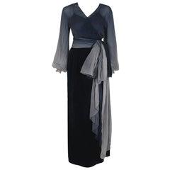 Vintage 1970 Christian Dior Haute Couture Ombre Chiffon Billow-Sleeve Dress Set