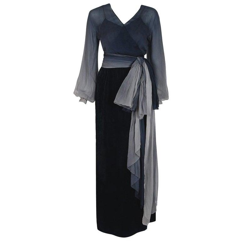 Vintage 1970 Christian Dior Haute Couture Ombre Chiffon Billow-Sleeve Dress Set For Sale