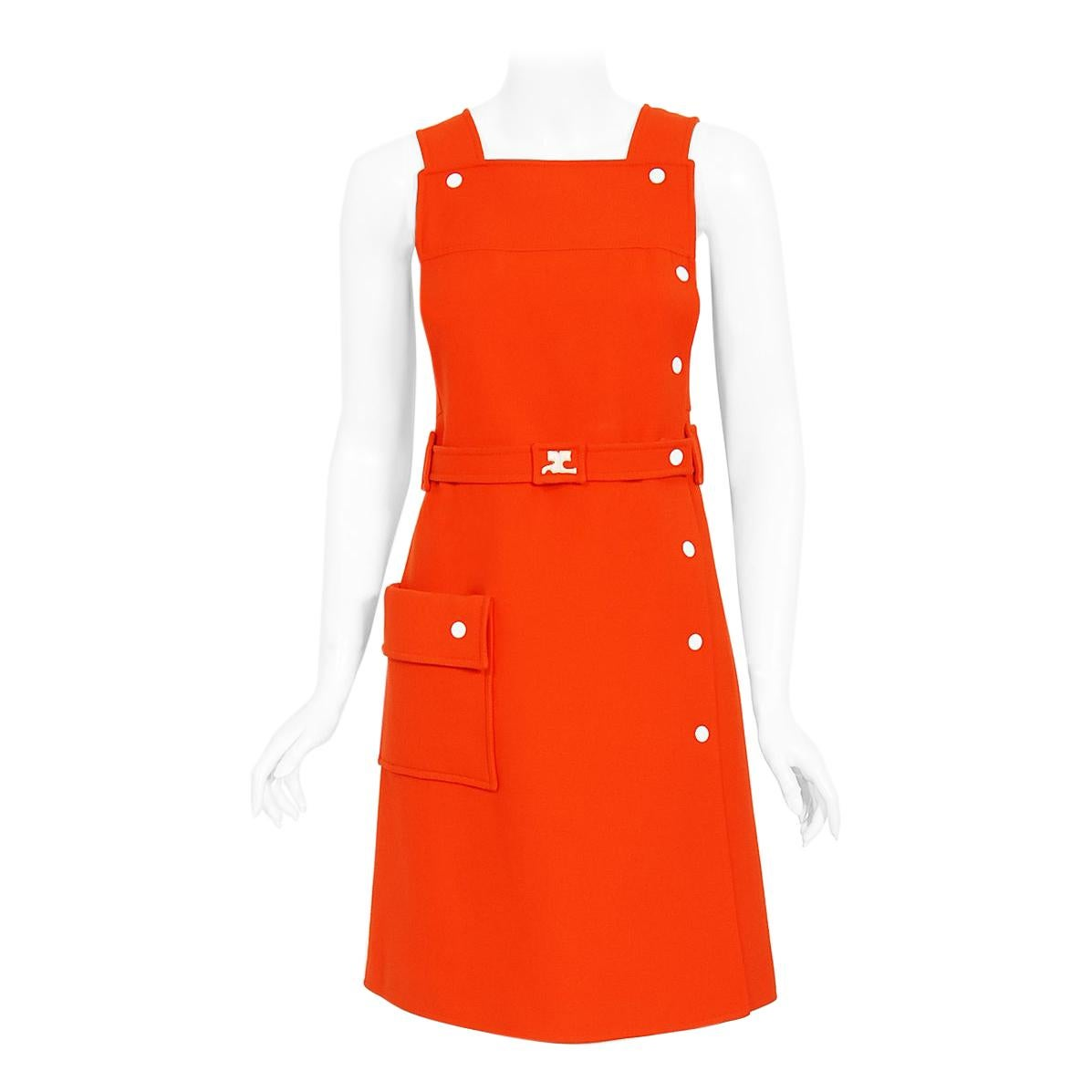 Vintage 1970 Courreges Hyperbole Orange Wool Space-Age Sleeveless Mod Mini Dress