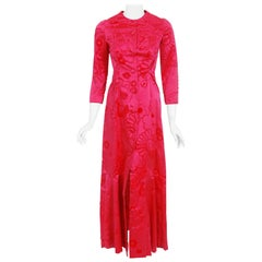Vintage 1970 Mainbocher Couture Documented Hot-Pink Flocked Silk Mermaid Dress