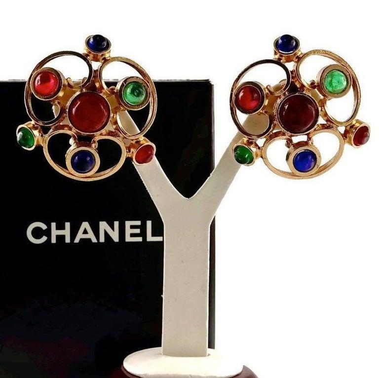 Women's or Men's Vintage 1970 Massive CHANEL Gripoix Openwork Earrings For Sale