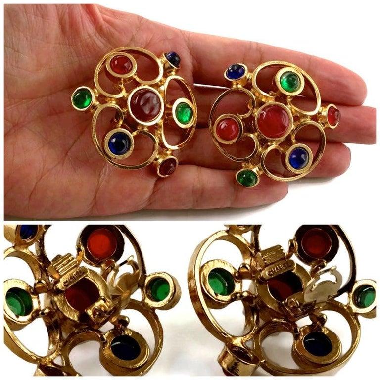Vintage 1970 Massive CHANEL Gripoix Openwork Earrings For Sale 1