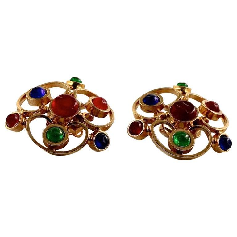 Vintage 1970 Massive CHANEL Gripoix Openwork Earrings For Sale