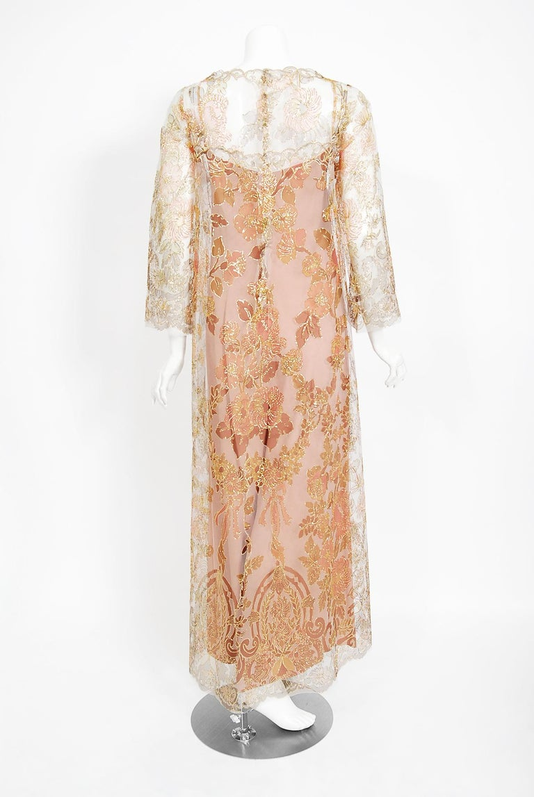 Vintage 1969 Molyneux Haute Couture Metallic Lace and Crepe Bell-Sleeve Jumpsuit For Sale 7