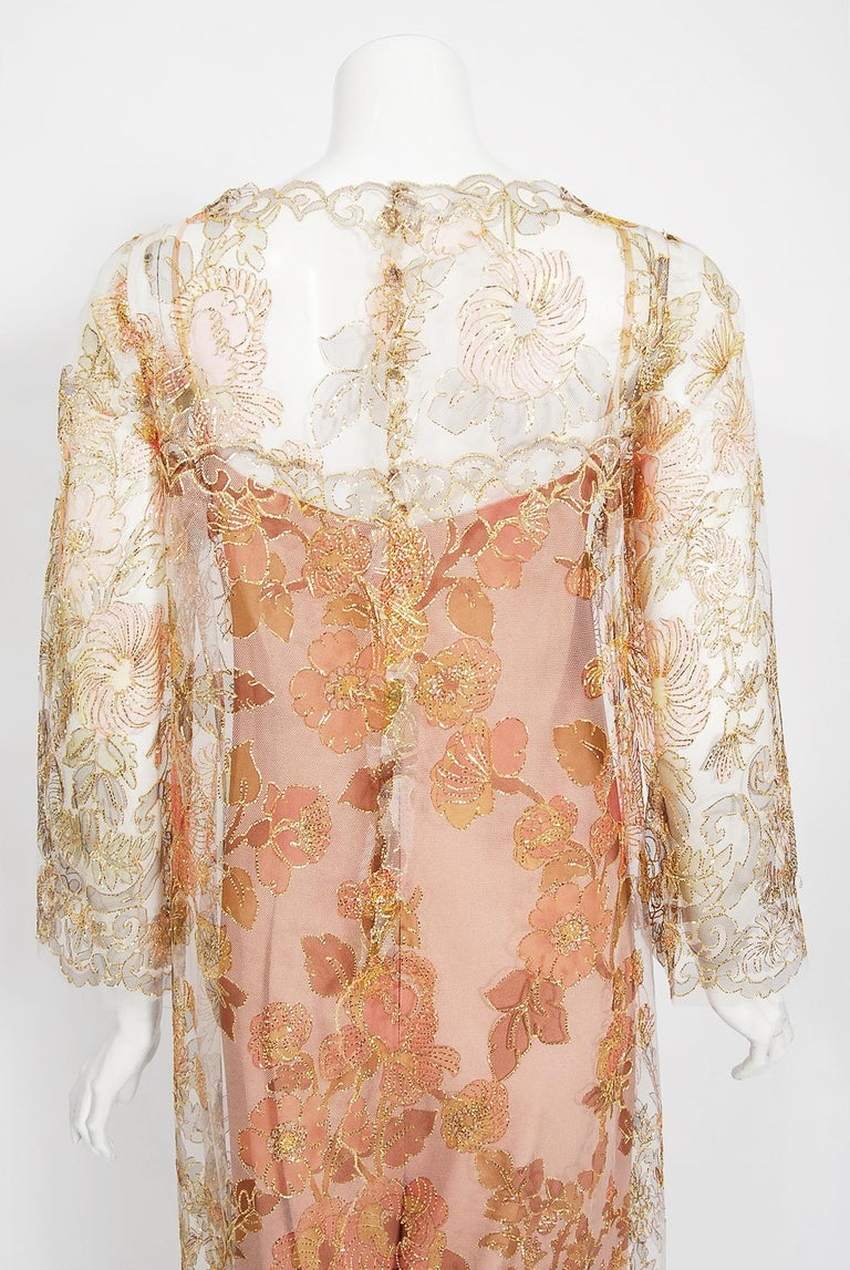 Vintage 1969 Molyneux Haute Couture Metallic Lace and Crepe Bell-Sleeve Jumpsuit For Sale 8