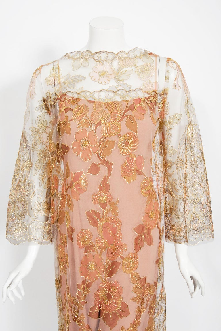 Incredibly rare and highly collectible Edward Molyneux metallic lace jumpsuit from his 1969-70 collection. After a period working for the British fashion designer Lucile, Molyneux opened his fashion house in Paris and dressed the likes of Greta