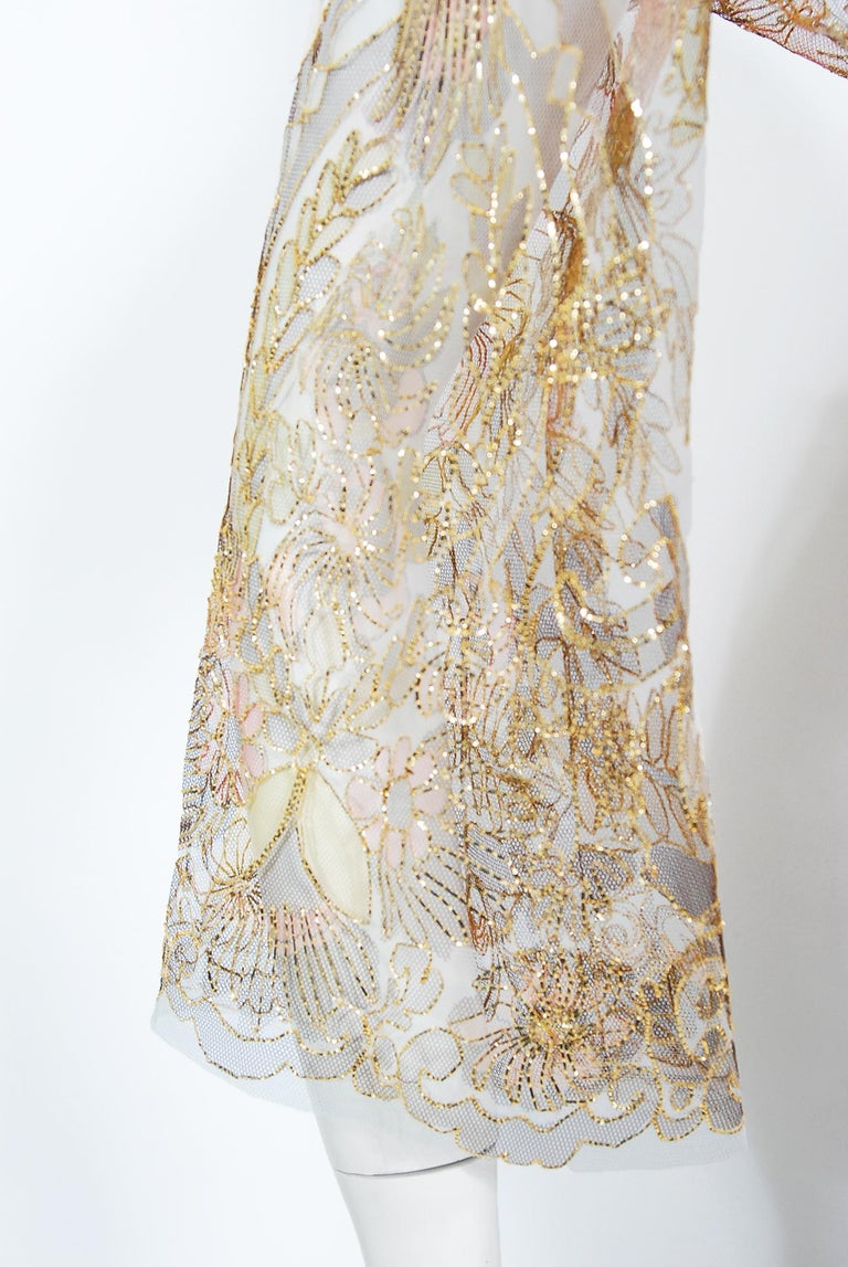 Women's Vintage 1969 Molyneux Haute Couture Metallic Lace and Crepe Bell-Sleeve Jumpsuit For Sale