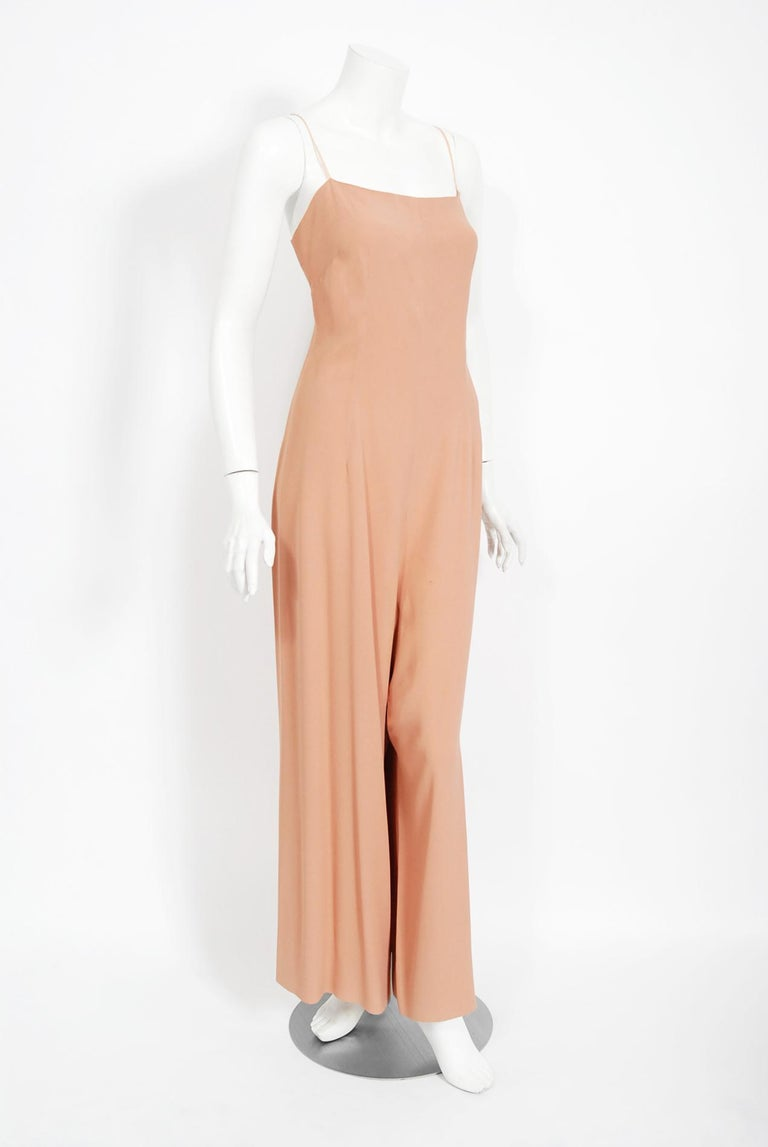 Vintage 1969 Molyneux Haute Couture Metallic Lace and Crepe Bell-Sleeve Jumpsuit For Sale 1