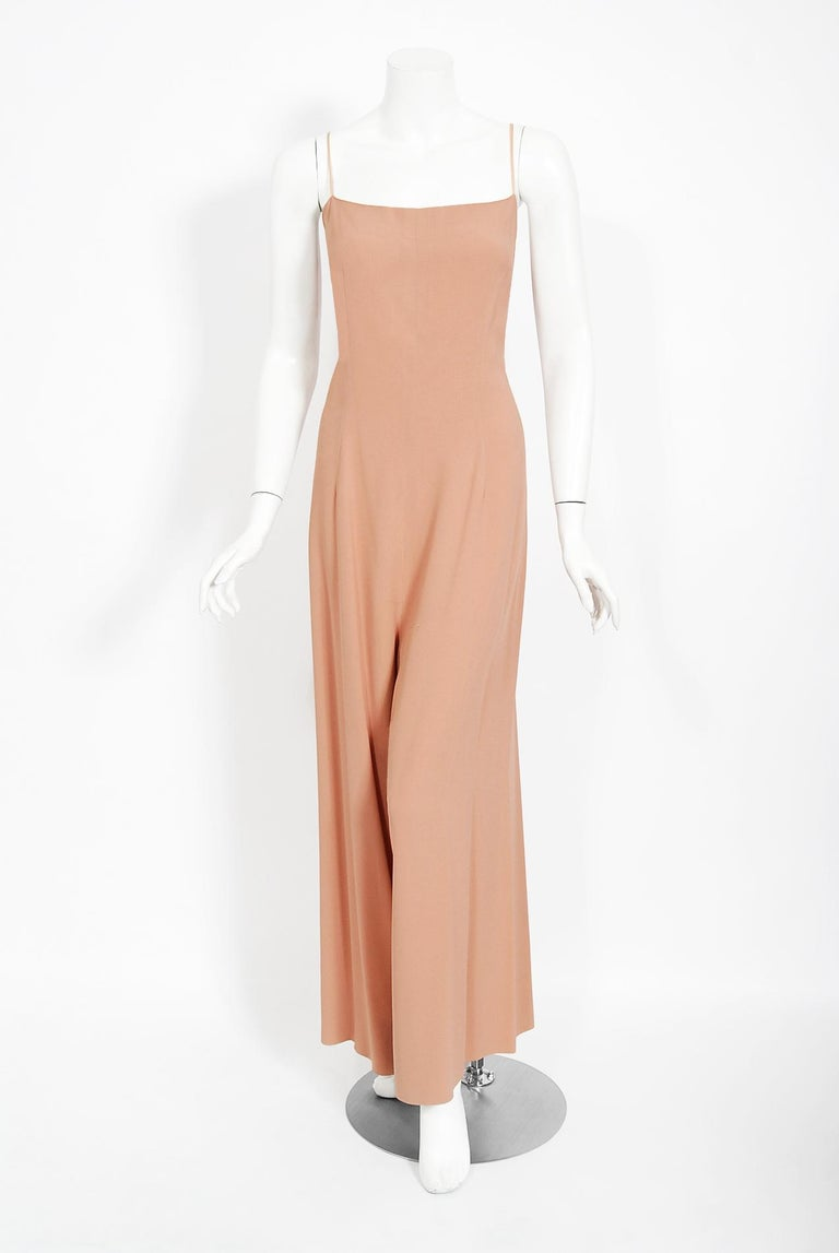 Vintage 1969 Molyneux Haute Couture Metallic Lace and Crepe Bell-Sleeve Jumpsuit For Sale 2