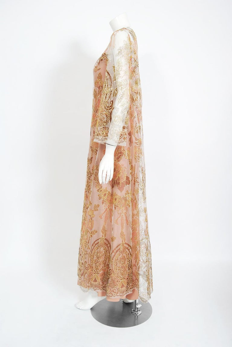 Vintage 1969 Molyneux Haute Couture Metallic Lace and Crepe Bell-Sleeve Jumpsuit For Sale 3
