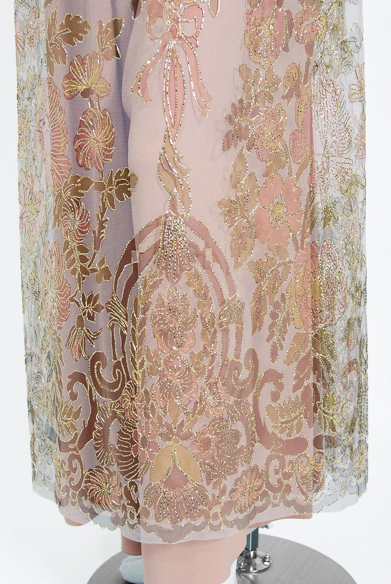 Vintage 1969 Molyneux Haute Couture Metallic Lace and Crepe Bell-Sleeve Jumpsuit For Sale 4