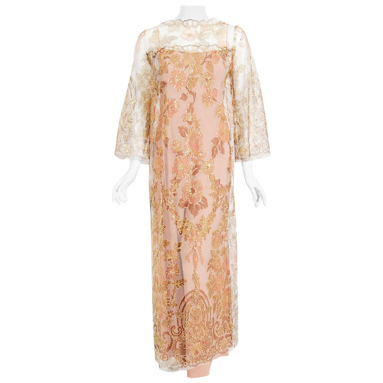 Vintage 1969 Molyneux Haute Couture Metallic Lace and Crepe Bell-Sleeve Jumpsuit For Sale