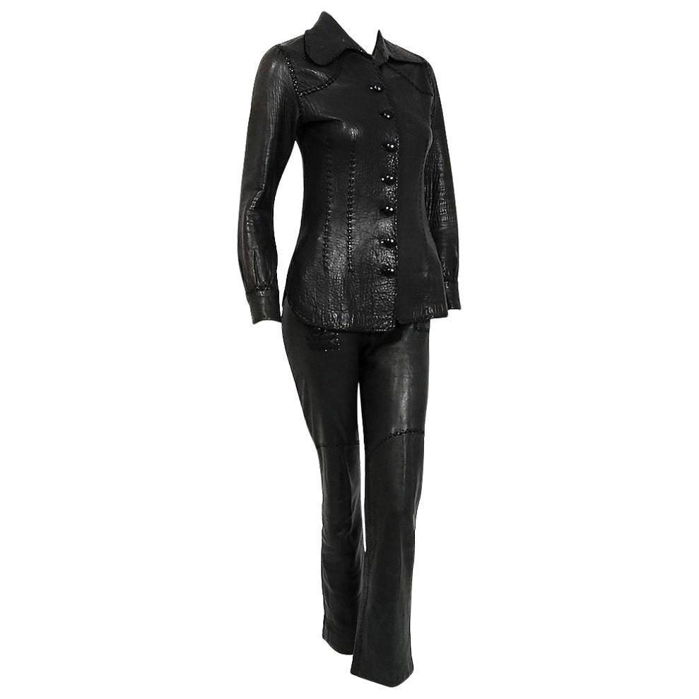 Vintage 1970 North Beach Leather Black Handmade Whipstitch Jacket & Pants Set