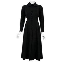 Vintage 1970 Ossie Clark Couture Black Cotton-Twill Princess Dress Coat Jacket