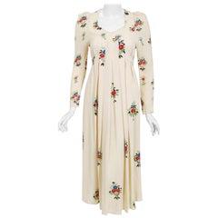 Vintage 1970 Ossie Clark Ivory Moss-Crepe Celia Birtwell Floral Print Dress
