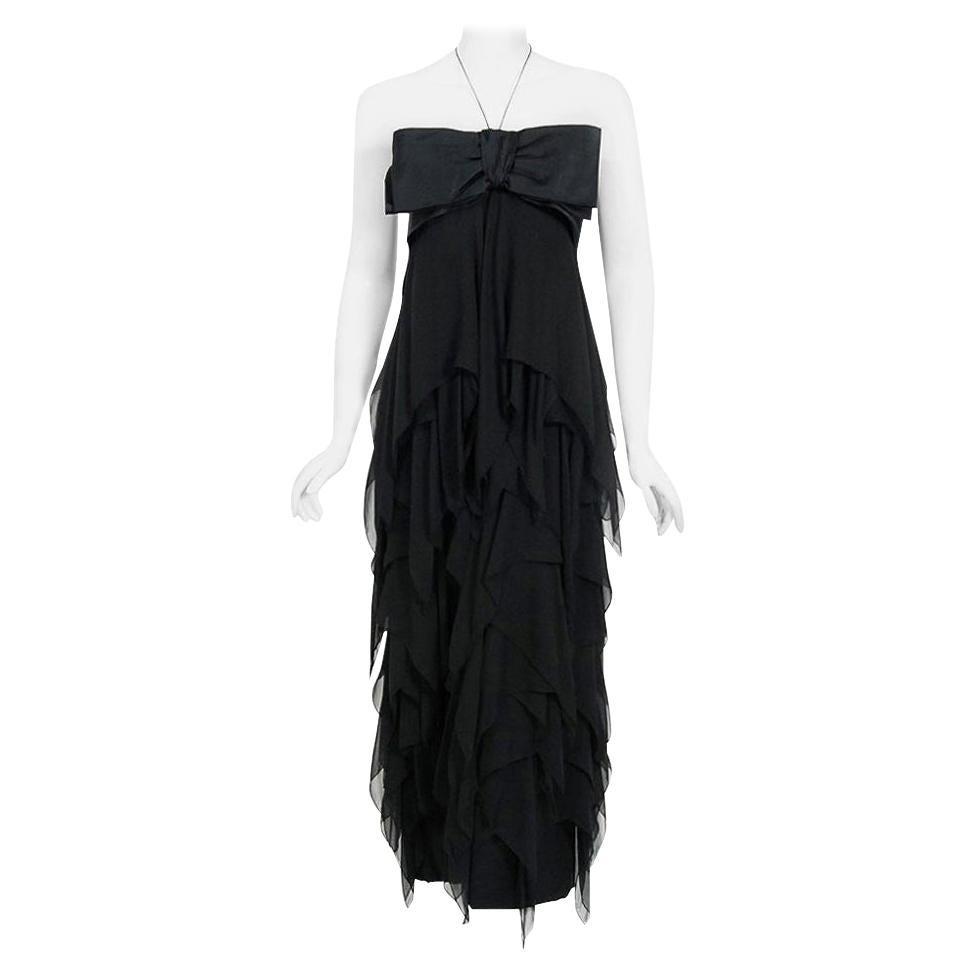 Vintage 1970 Pauline Trigere Black Silk Chiffon & Satin Halter-Bow Tiered Dress