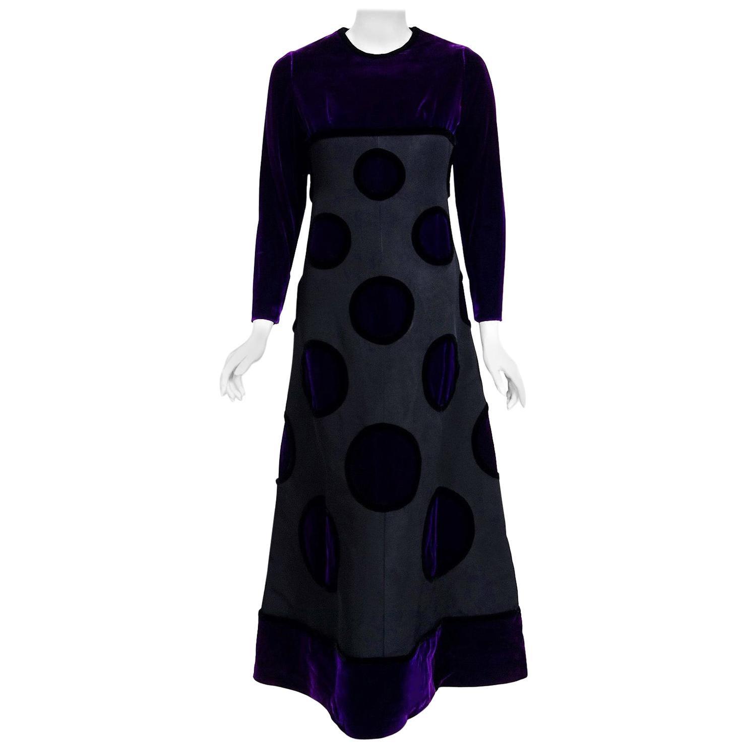 Vintage 1970 Pierre Balmain Haute Couture Purple Velvet Gown & Full-Length Cape