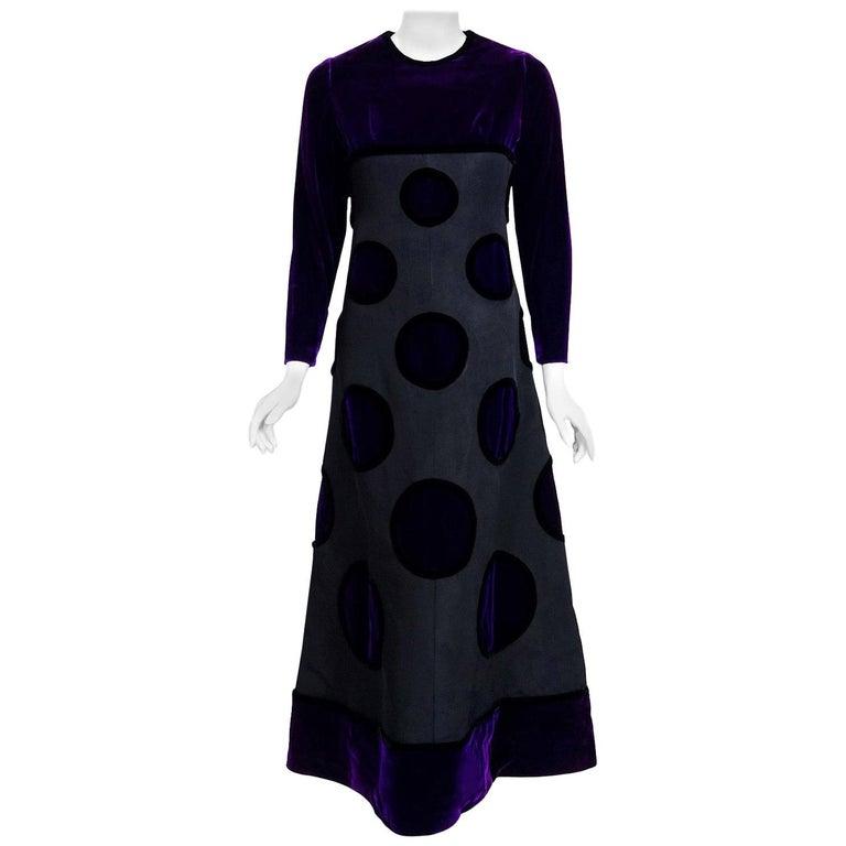 Vintage 1970 Pierre Balmain Haute Couture Purple Velvet Gown & Full-Length Cape For Sale