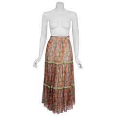 Vintage 1970 Thea Porter Couture Colorful Silk-Chiffon & Velvet Bohemian Skirt