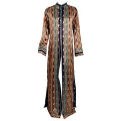 Vintage 1970 Thea Porter Couture Embroidered Ikat Silk Bohemian Maxi Coat Jacket