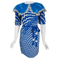 Vintage 1970 Thea Porter Couture Graphic Blue Silk Portrait Collar Tunic Dress