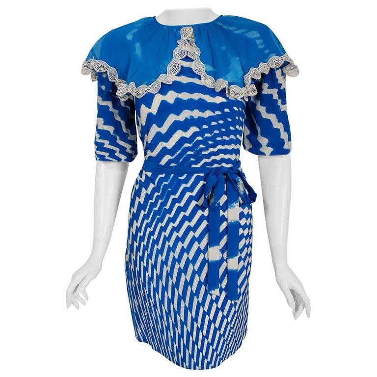 Vintage 1970 Thea Porter Couture Graphic Blue Silk Portrait Collar Tunic Dress For Sale
